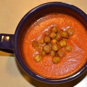 """Creamy"" Tomato Soup with RoastedChickpeas"
