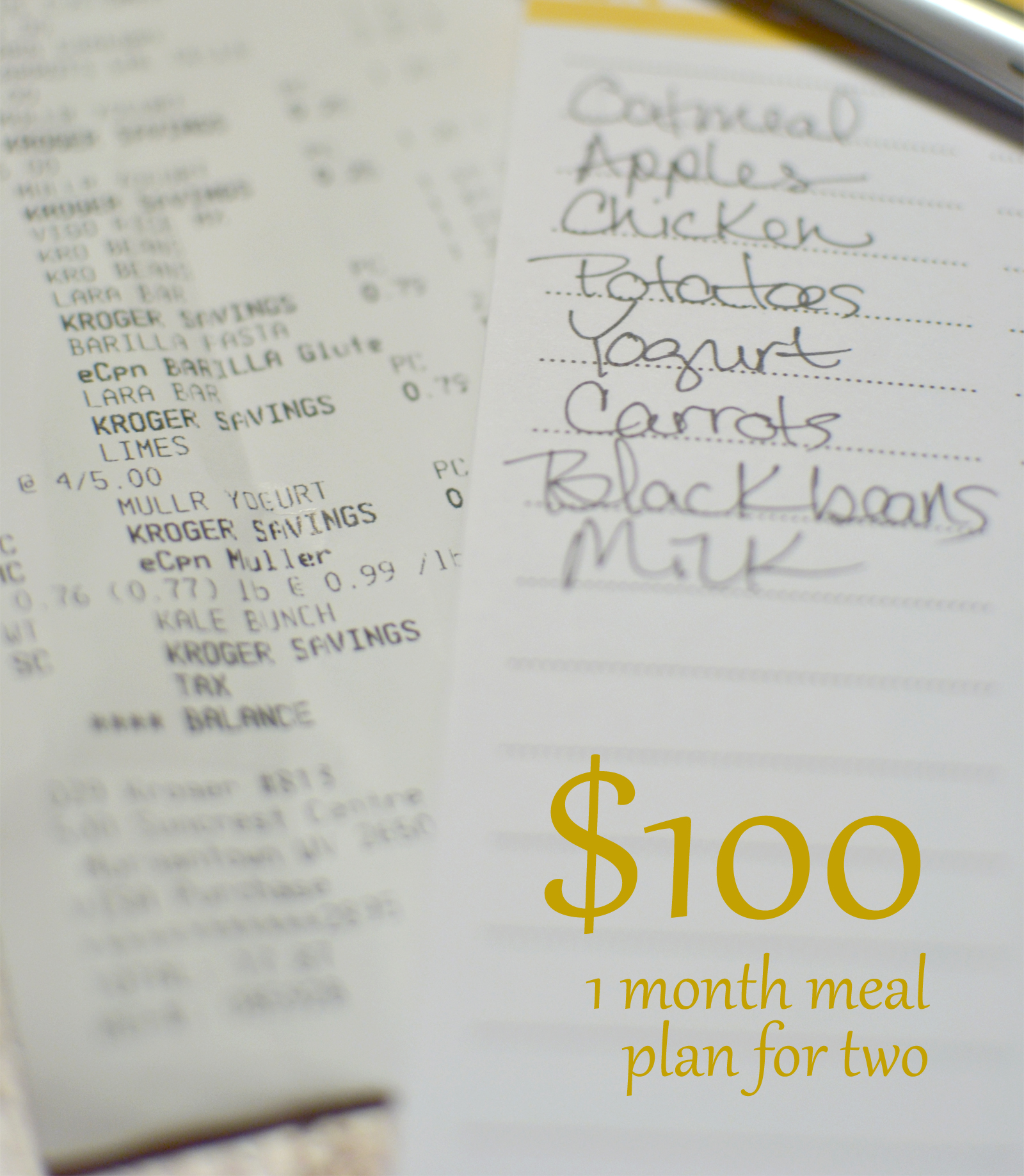 100 a month meal plan