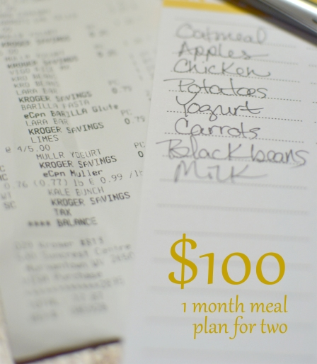 $100/month meal plan for two