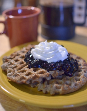 Almond flour-buckwheat waffles & blueberry compote