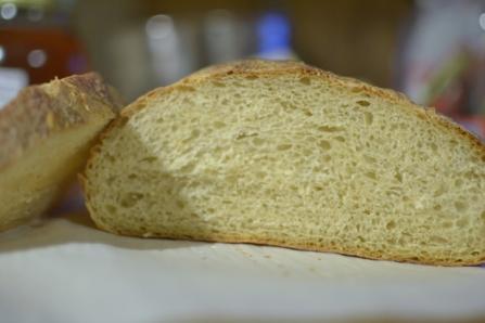 Sliced homemade sourdough bread
