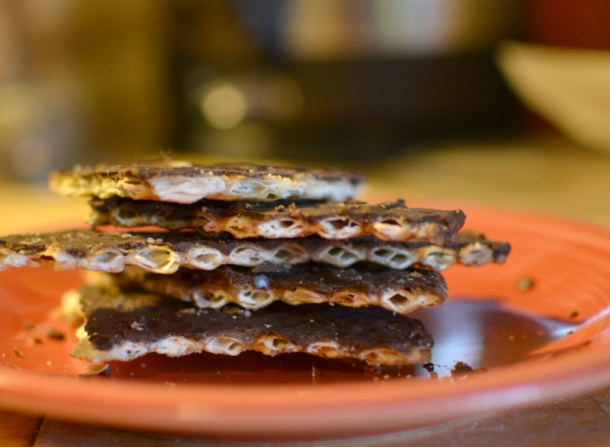 Salted Toffee Matzo Bark Recipe