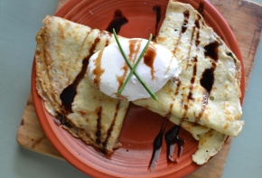 Local Breakfast {Part 1}: Spinach and Chevre Crepes