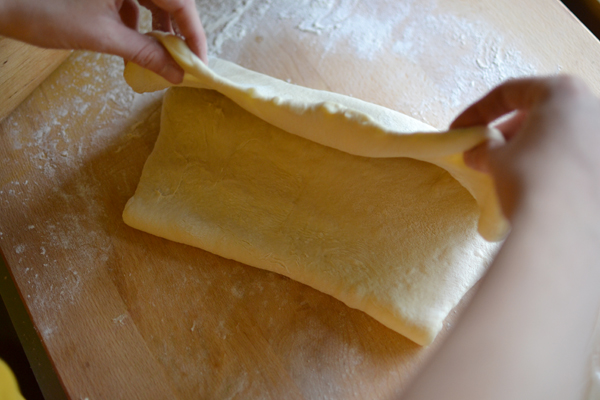 Folding kouign amann dough
